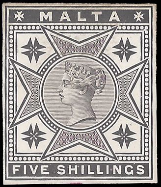 MALTA 1886 QV 5/- DAY BOOK DIE PROOF, RARE