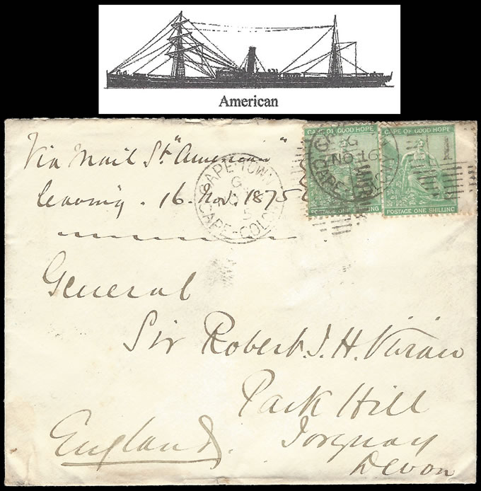 CAPE OF GOOD HOPE 1875 DOUBLE RATE 1/-'s UNION LINE LETTER