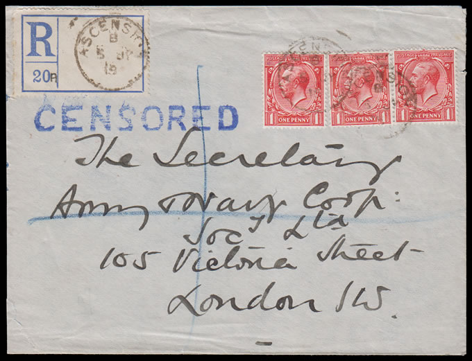 "ASCENSION 1916 GB KGV 3X1D ON ""CENSORED"" REGISTERED LETTER"