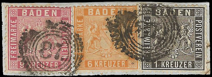GERMANY BADEN 1860 THREE COLOUR FRANKING TO 16KR