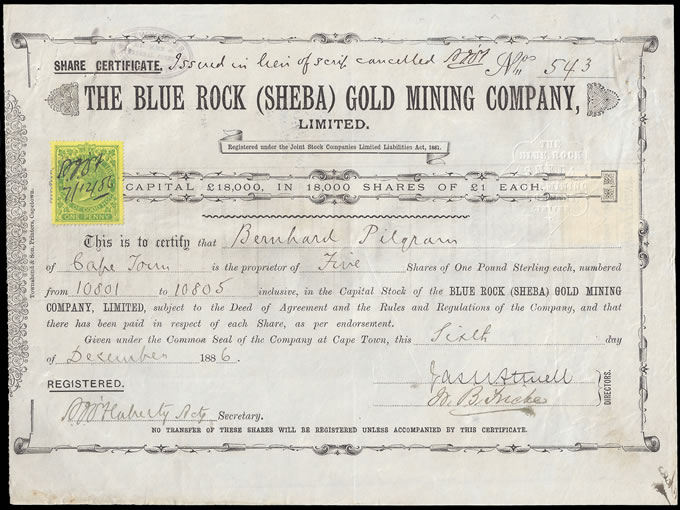CAPE OF GOOD HOPE 1886 SHARE CERTIFICATE SHEBA GOLD, LOVELY