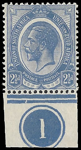 SOUTH AFRICA 1913 KGV 2½D SHIFTED MEDALLION PLATE NO VF/U