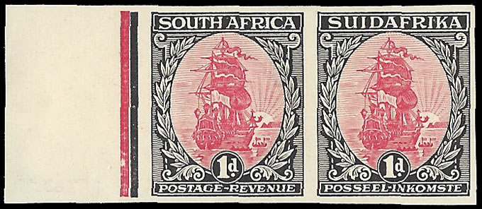 SOUTH AFRICA 1926 1D COLOUR TRIAL PLATE PROOF PAIR, MARGINAL