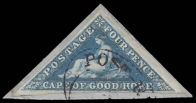 CAPE OF GOOD HOPE 1855 4D DEEP BLUE, POST RETIEF OVAL DATESTAMP