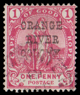 ORANGE RIVER COLONY 1900 1D OVERPRINT PARTIALLY OMITTED