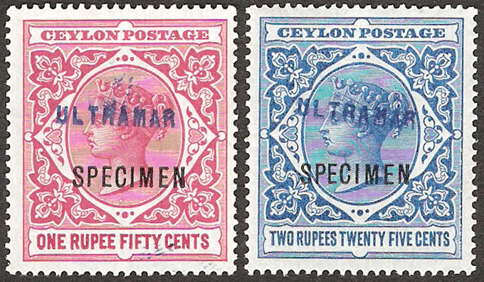 CEYLON 1899 QV HIGH VALUES SPECIMENS WITH ULTRAMAR, RARE