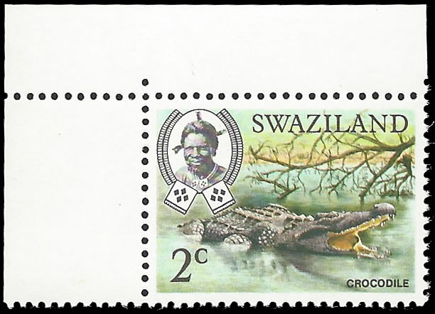 SWAZILAND 1968 2C CROCODILE INVERTED WATERMARK UM