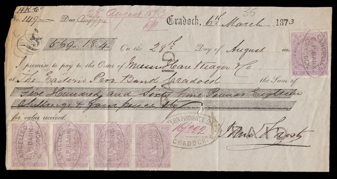 Cape of Good Hope 1873 Promissory Note Cradock, 2/- & 1/-'s - Click Image to Close