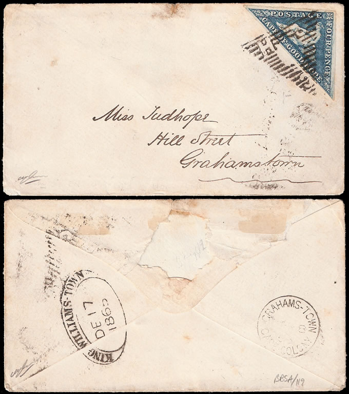 CAPE OF GOOD HOPE 1865 DE LA RUE STEEL BLUE TRIANGLE ON LETTER