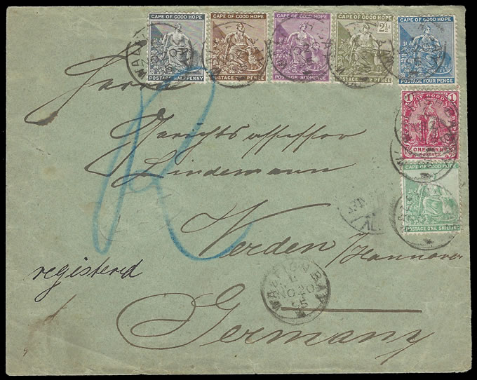 South West Africa 1895 Walfish Bay Lovely Cape Franking