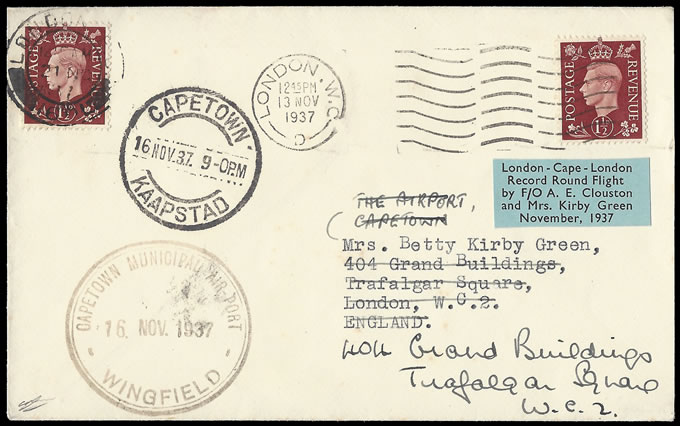 SOUTH AFRICA 1937 CLOUSTON & KIRBY GREEN ROUNDTRIP COVER