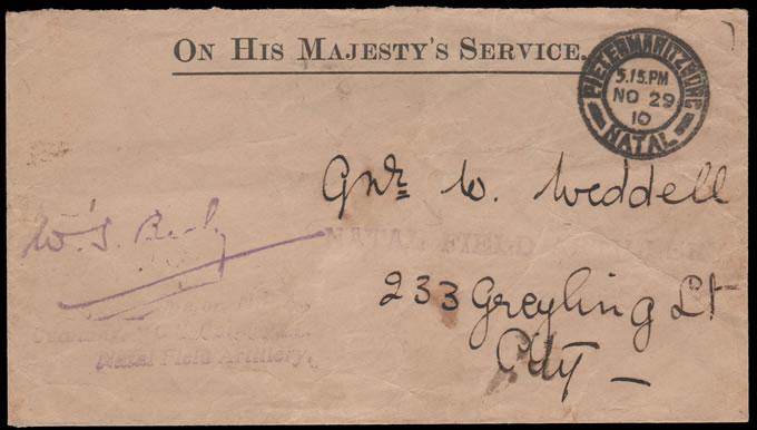 South Africa 1910 Natal Field Artillery OHMS Letter