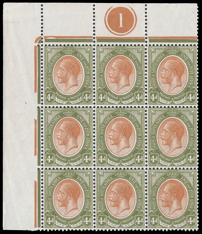 SOUTH AFRICA 1913 KGV 4D INVERTED WMK PLATE BLOCK