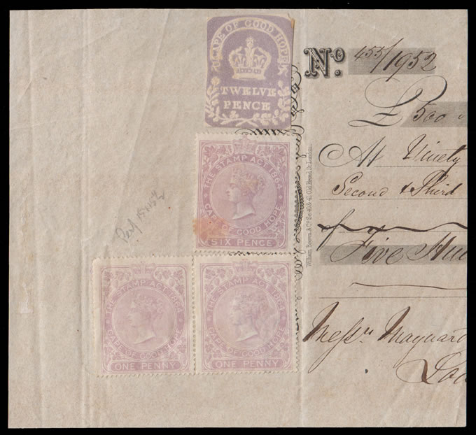 CAPE OF GOOD HOPE 1865 MIXED ISSUE USAGE