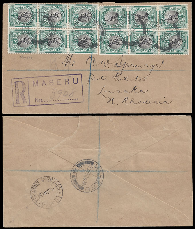 BASUTOLAND 1933 SOUTH AFRICA ½D BLOCK ON MASERU LETTER