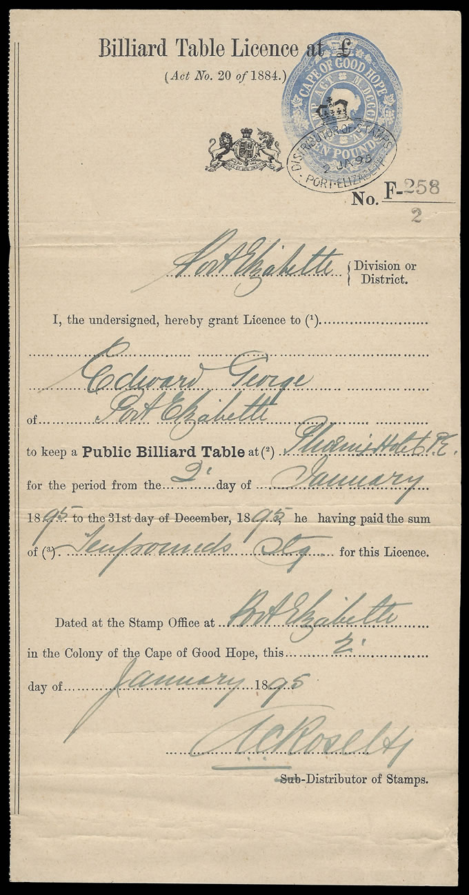 CAPE OF GOOD HOPE 1895 BILLIARD TABLE LICENSE