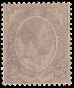 SOUTH AFRICA 1913 KGV 2D PURPLE OFFSET VARIETY