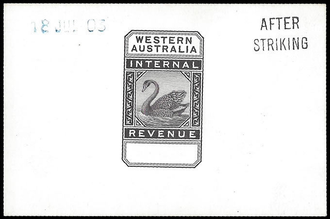 WESTERN AUSTRALIA REVENUE 1903 MASTER DIE PROOF AFTER STRIKING