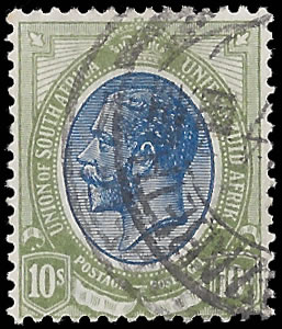 SOUTH AFRICA 1913 KGV 10/- RARE INVERTED WATERMARK VF/U