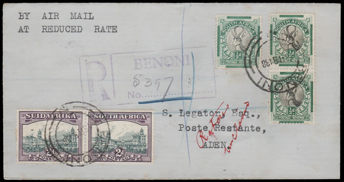 SOUTH AFRICA 1938 2D AIRSHIP FLAW USED ON COVER