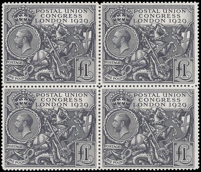 GREAT BRITAIN 1929 PUC £1 BLOCK OF FOUR UM, MAGNIFICENT