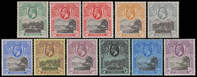 SAINT HELENA 1912 KGV ½D - 3/- FULL SET VF/M