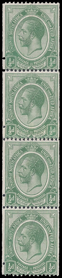SOUTH AFRICA 1913 KGV ½D COILS WITH JOIN, ISOLATED PERFS