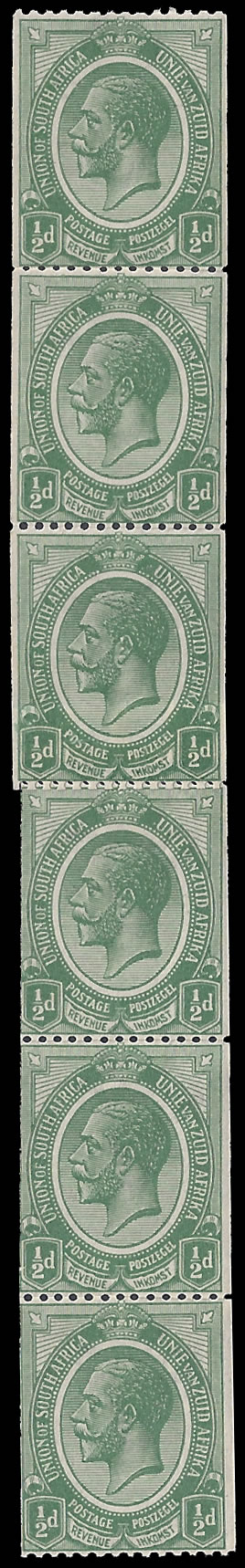 SOUTH AFRICA 1913 KGV ½D COILS WITH JOIN