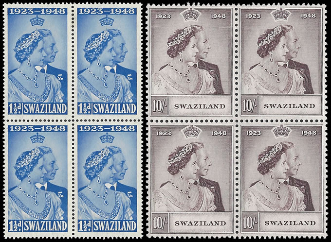 SWAZILAND 1948 SILVER WEDDING VF/M BLOCKS