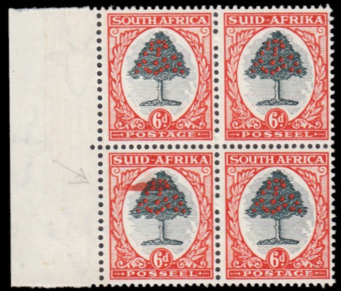 SOUTH AFRICA 1950 6D EXTRA INK SPLASH VARIETY BLOCK WITH CERT