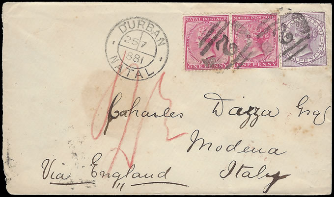 NATAL 1881 COLOURFUL NEATLY CANCELLED LETTER TO ITALY