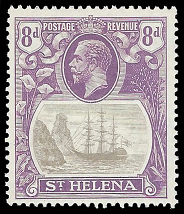 Saint Helena 1923 Badge Issue 8d Cleft Rock VF/M