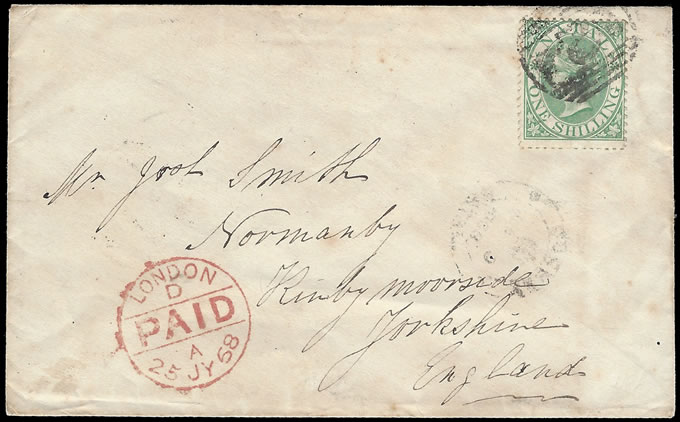 Natal 1868 QV 1/- Letter Durban to England