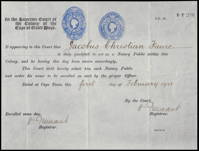 CAPE OF GOOD HOPE 1901 EMBOSSED LICENSES ON NOTARY ENROLMENT