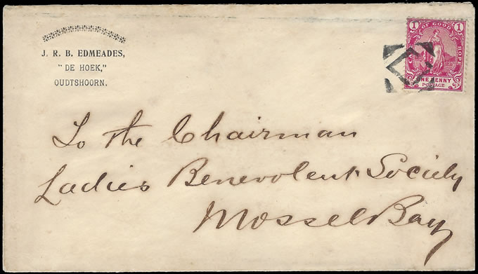 CAPE OF GOOD HOPE 1900 CORK CANCEL COVER TO MOSSEL BAY