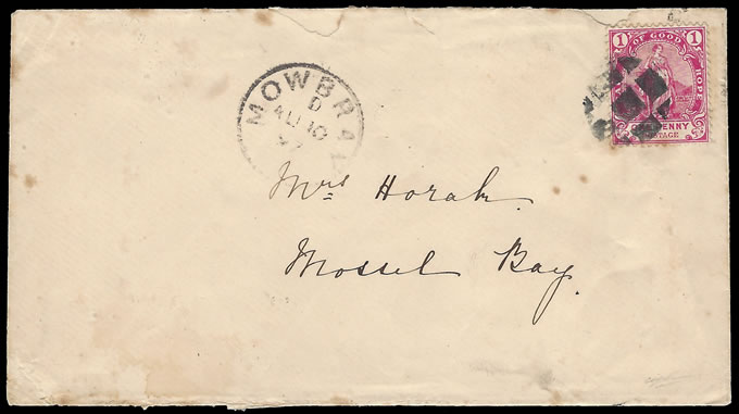 CAPE OF GOOD HOPE 1897 CORK CANCEL COVER FROM MOWBRAY