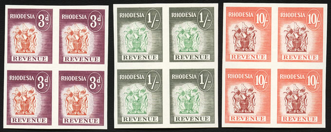 RHODESIA REVENUES 1966 MARDON IMPERF BLOCKS VF/UM