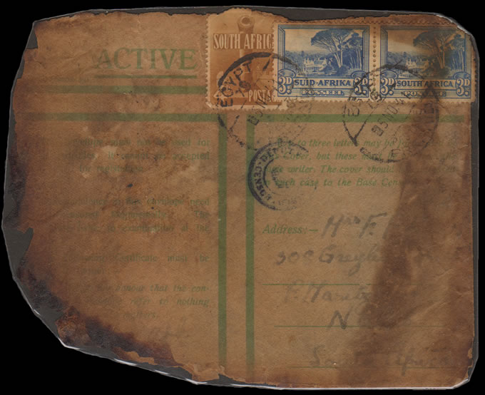 SOUTH AFRICA 1941 SAAF MALAKAL CRASH COVER, SIX SURVIVE