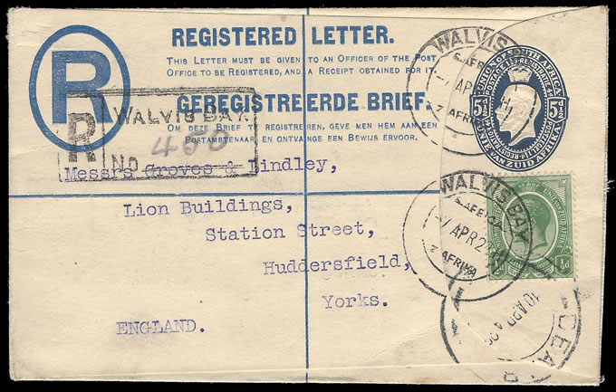 SOUTH WEST AFRICA 1923 UPRATED SA KGV STATIONERY WALVIS BAY