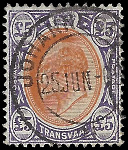 TRANSVAAL 1903 KEVII £5 VF/U WITH CERT