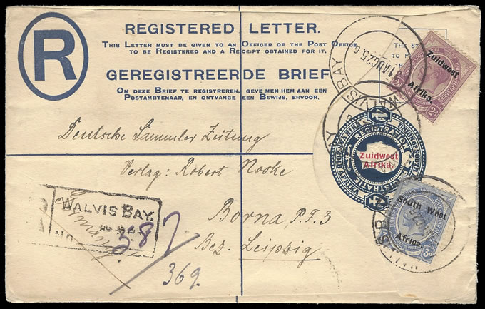 SOUTH WEST AFRICA 1925 UPRATED STATIONERY TO GERMANY