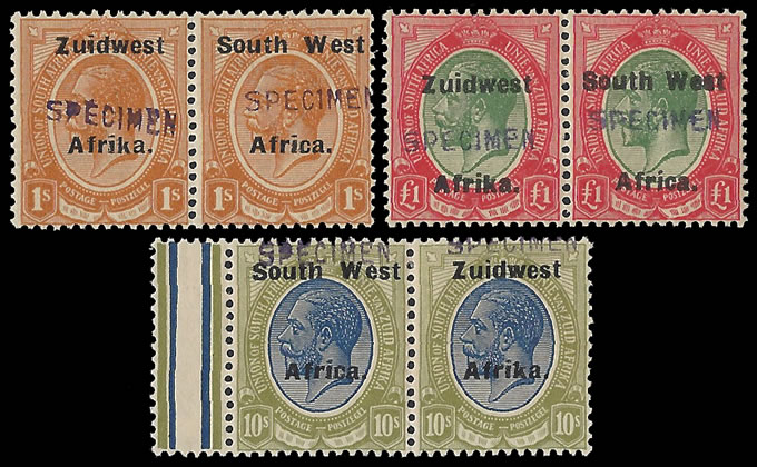 South West Africa 1924 KGV 1/- - £1 Specimen Horizontals
