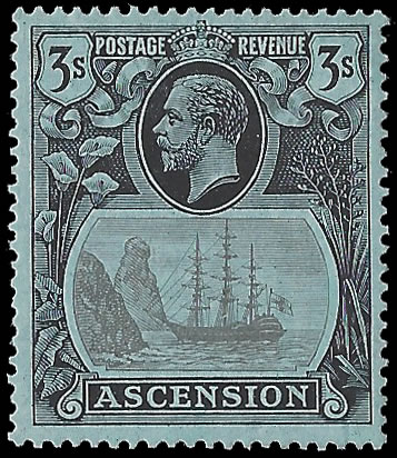 ASCENSION 1924 BADGE ISSUE 3/- BROKEN MAINMAST VF/M