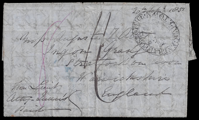 CAPE OF GOOD HOPE 1851 OFFICER'S EIGHTH WAR LETTER, PALIMPSET