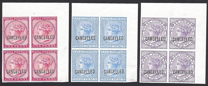 Natal 1882 QV Imperf Colour Proof Corner Blocks of Four - Click Image to Close