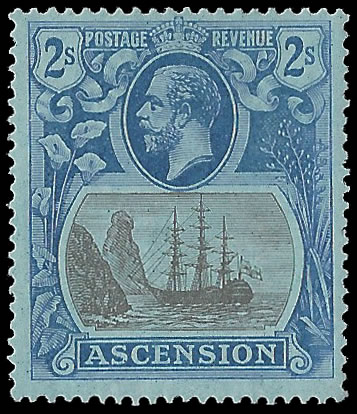 ASCENSION 1924 BADGE ISSUE 2/- TORN FLAG VF/M