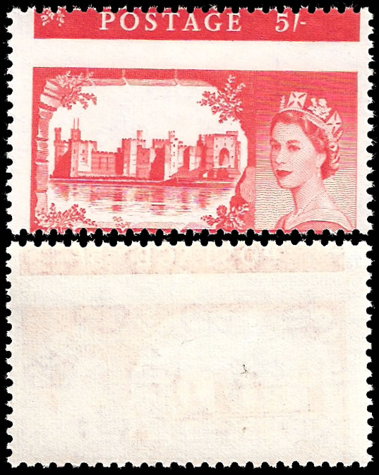 GREAT BRITAIN 1963 5/- BW CASTLE SPECTACULAR MISPERF, RARE