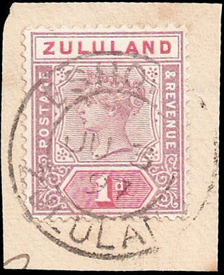 "Zululand 1894 QV 1d Shaved ""Z"" VF/U on Piece"