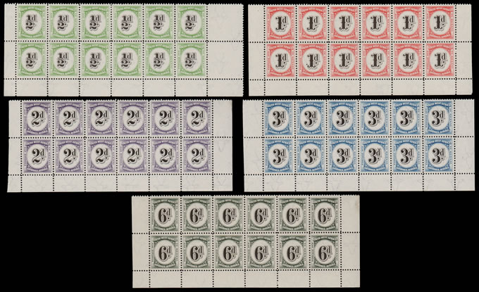 SOUTH WEST AFRICA POSTAGE DUE 1931 FULL SET UM BOTTOM DOUBLE ROW