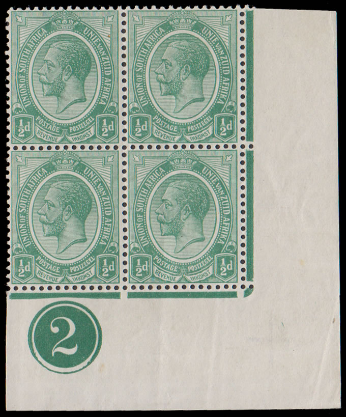 South Africa 1913 KGV ½d Green Plate No 2 Block, Rare